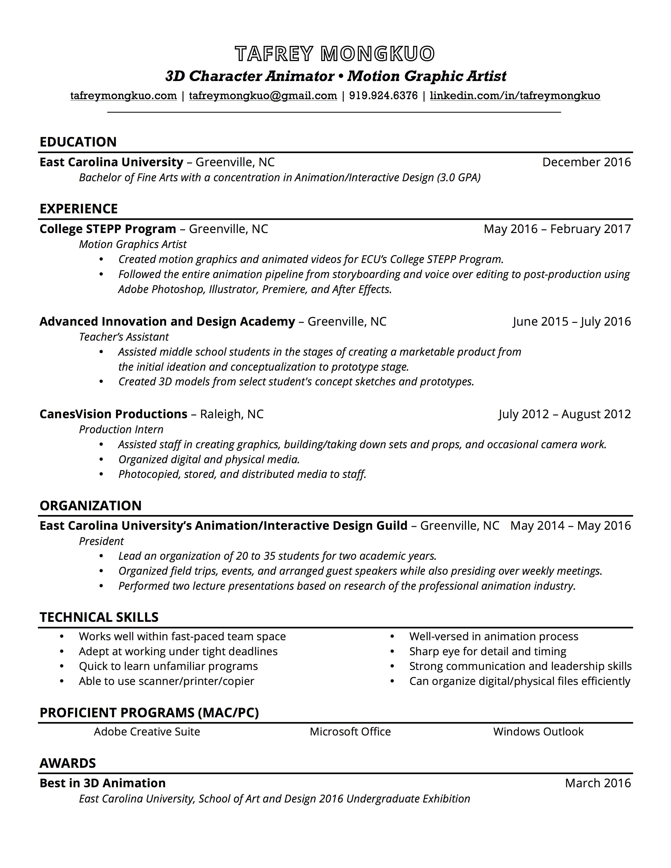 resume tafrey mongkuo