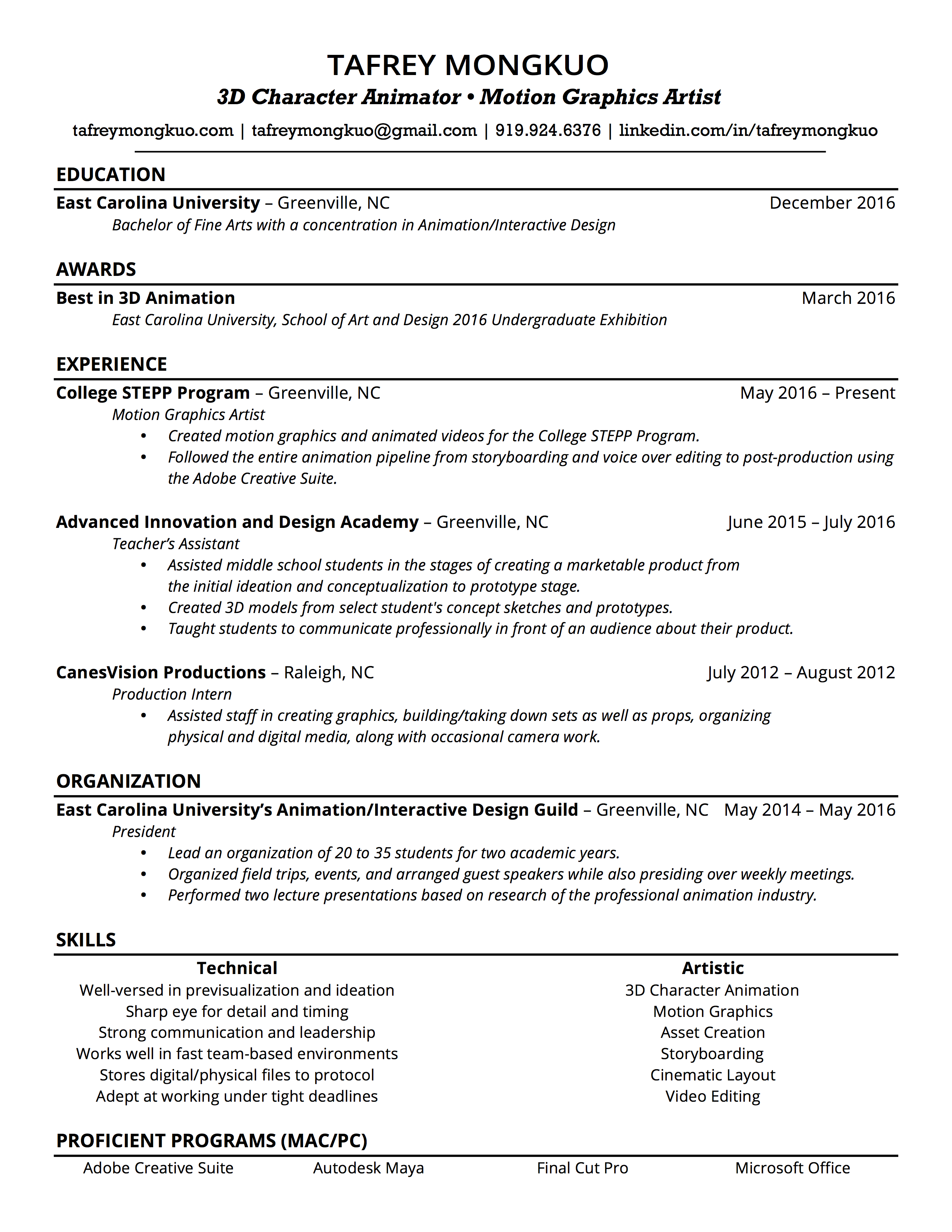 resume tafrey mongkuo resume